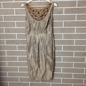Adrianna Papell Gold Beaded Jewel Neckline Dress
